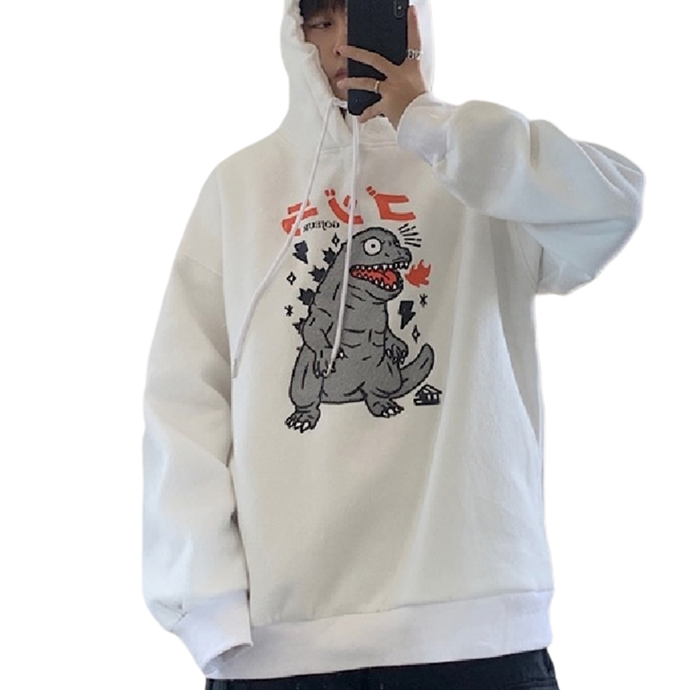 Man Woman Oversize Hoodie Spring Autumn Loose Cartoon Dinosaur Printing Pattern Drawstring Hoodie White_L