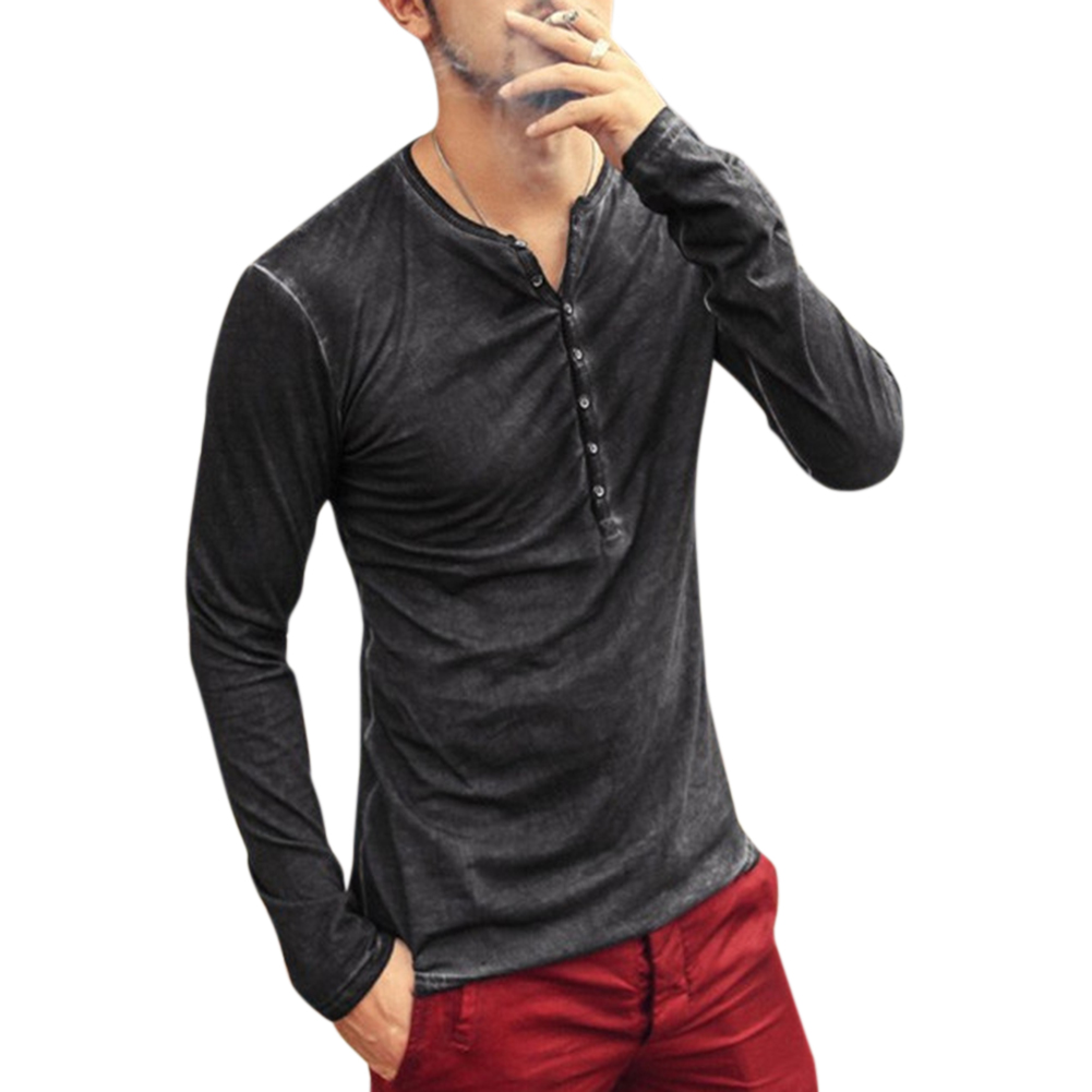 Men Simple Casual Long-Sleeve Slim Henley Shirt Simple Solid Color Button Tops dark gray_XL