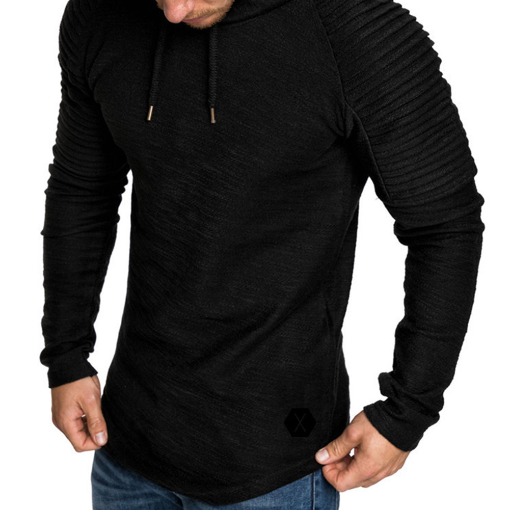 Men Slim Solid Color Long Sleeve T-shirt Casual Hooded Tops Blouse black_XL