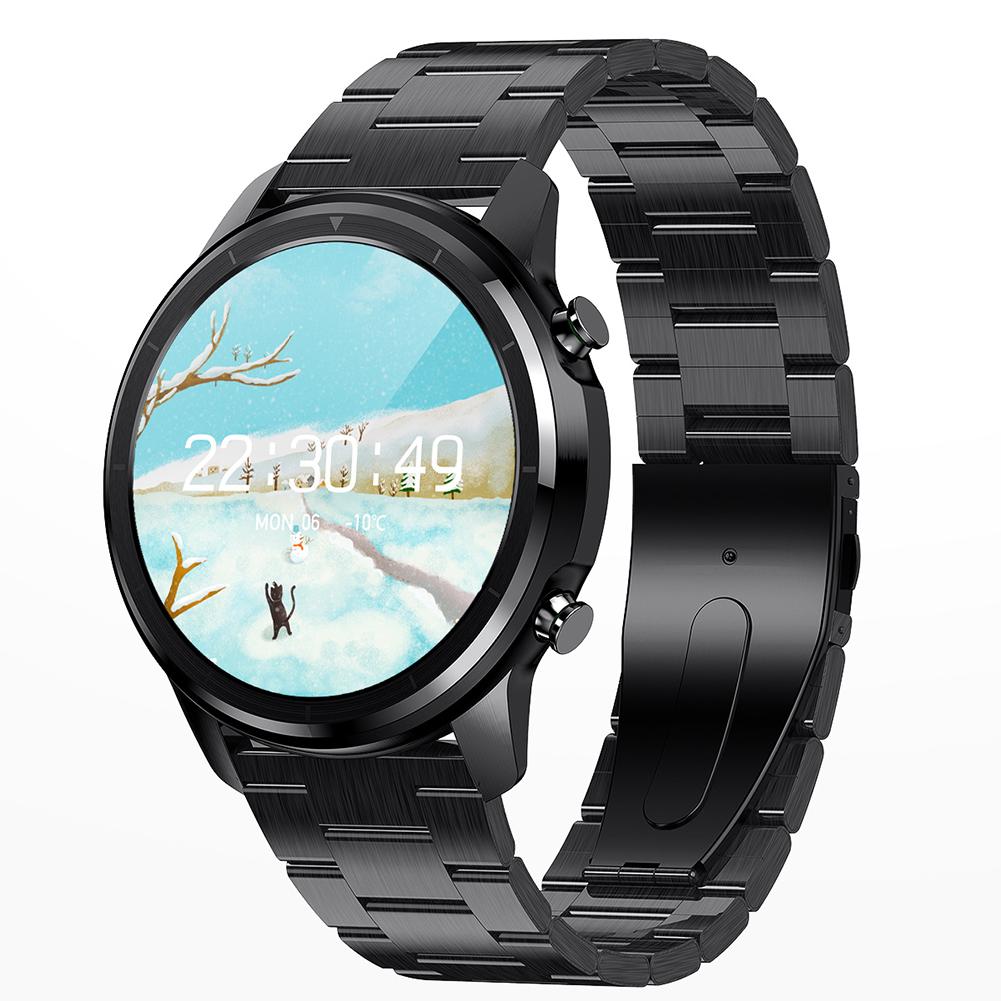Original LEMFO Lf26 Smart  Watch Hd Ips Screen Custom Dial Sport Record Smartwatch For Android Ios Huawei Xiaomi Black dial black steel belt