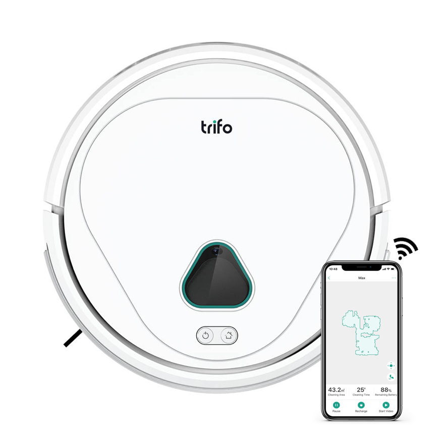 TRIFO Max e-comm Robot Vacuum Cleaner with AI Powered Home Surveillance Video Recording silver white_European regulations