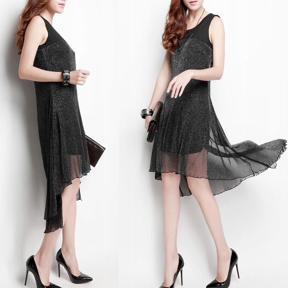 Women Stylish Large Size Sleeveless Long Mesh Patchwork Dress black_M
