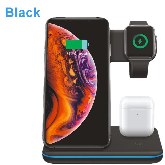3 in 1 Universal 15W Qi Wireless Charger for Iphone X 8 Xiaomi Quick Charge 3.0 Fast Charger Dock Stand for Apple Airpods Watch 4 3 2 1 black
