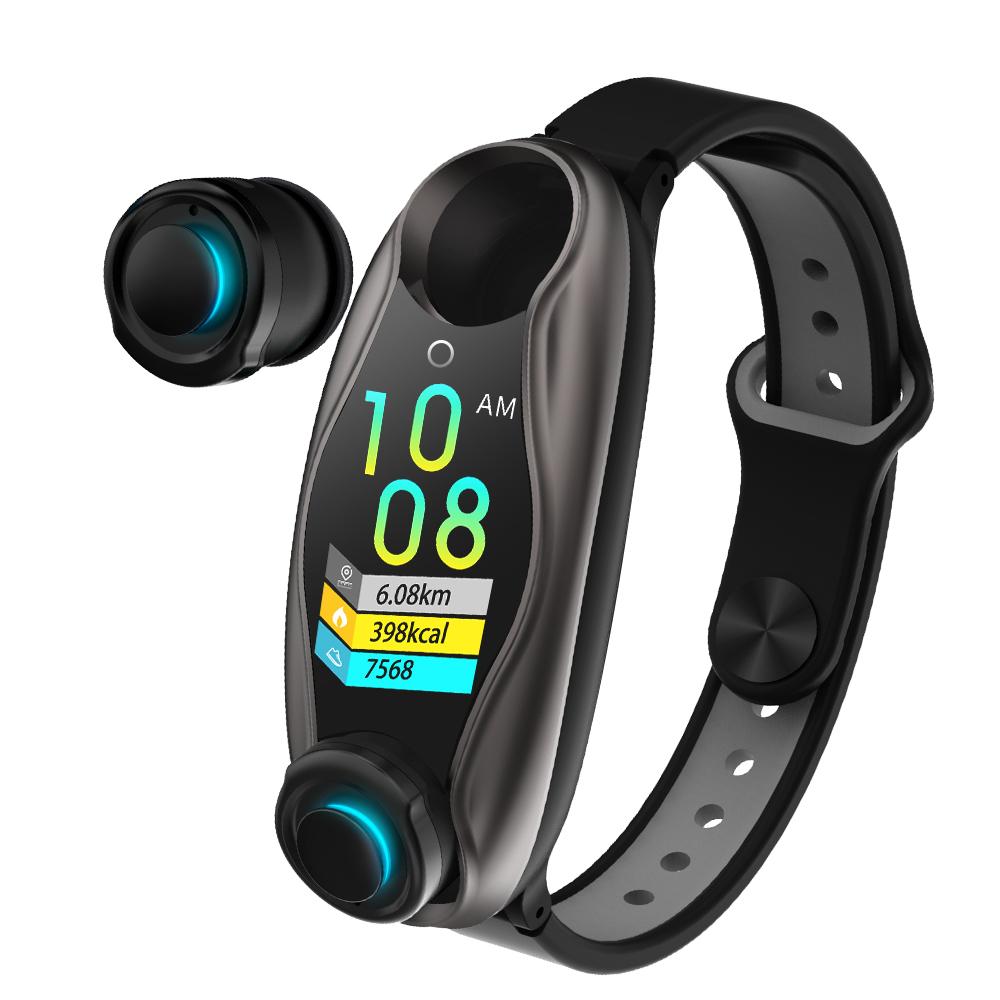 Original LEMFO LT04 Fitness Bracelet Wireless Bluetooth Earphone 2 In 1 Bluetooth 5.0 Chip IP67 Waterproof Sport Smart Watch black