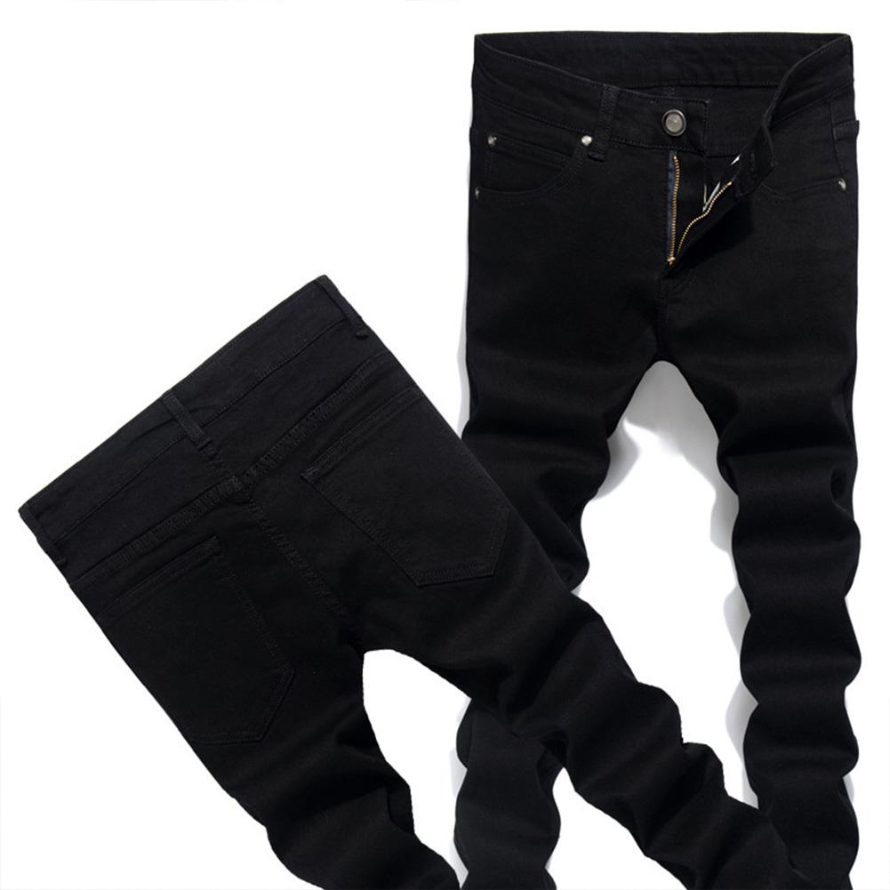 Men Solid Color Fashion Slim Type Jeans Pencil Pants black_30