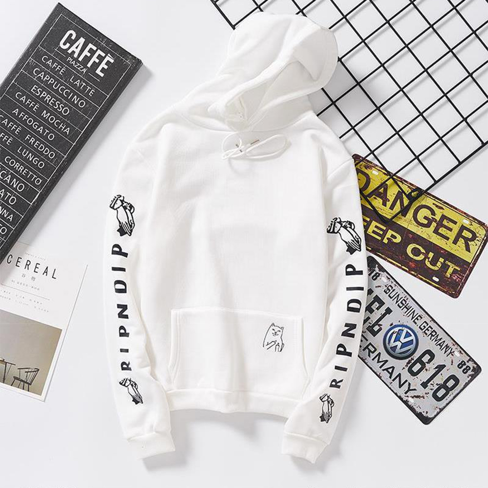 Unisex Fashion Plush All-matching Couple Simple Letters Printing Hoody White_XL