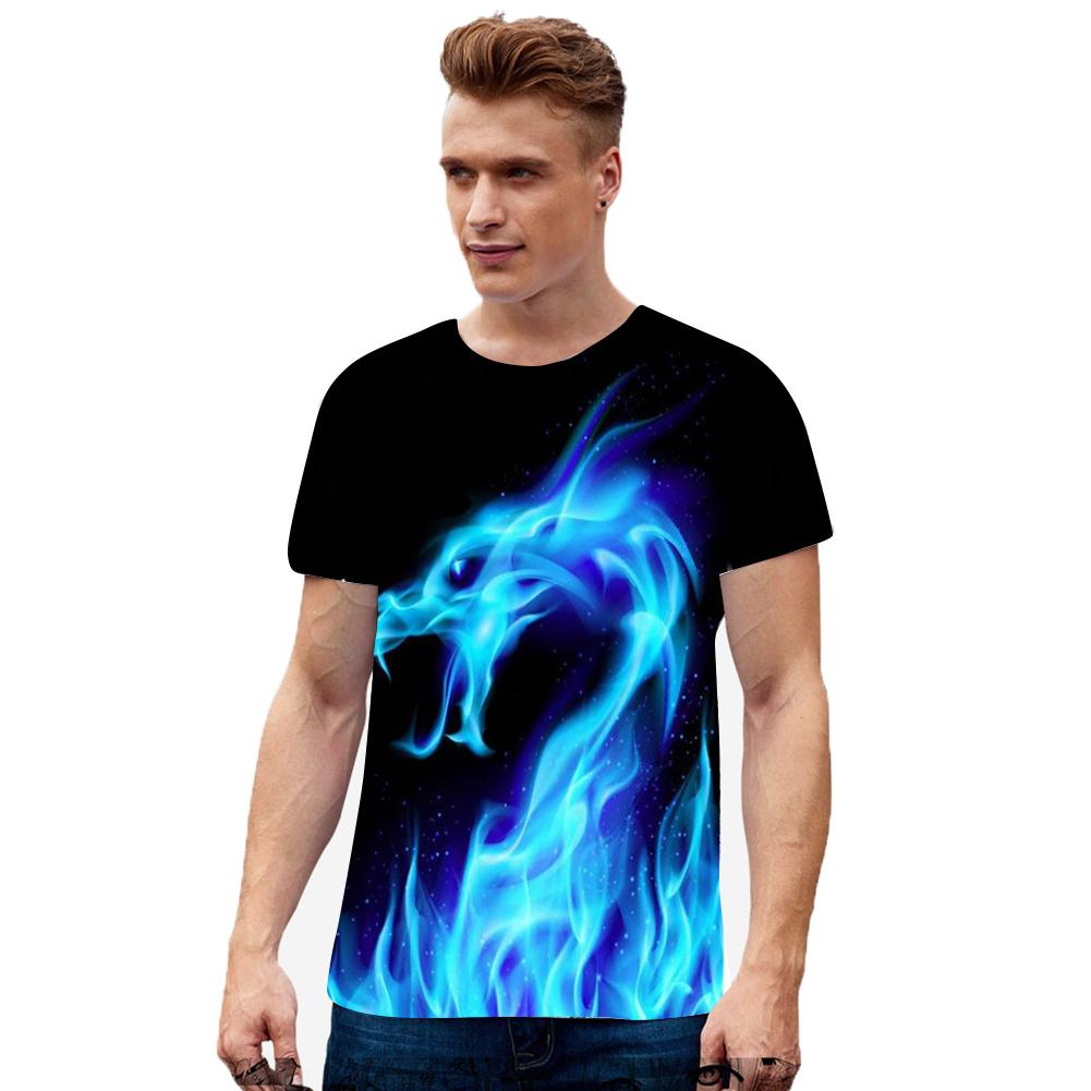 Men Women Fashion 3D Fire Dragon Printing Casual Short Sleeve T-Shirt Photo Color_XXL