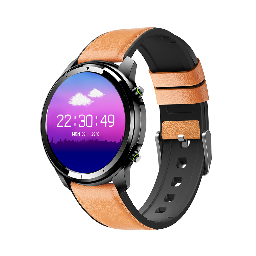 Original LEMFO LF26 Round Dial Smart Bracelet 150mAh IP67 Waterproof Bluetooth 5.0 1.3 inch Full HD IPS Screen Watch black_Brown leather strap