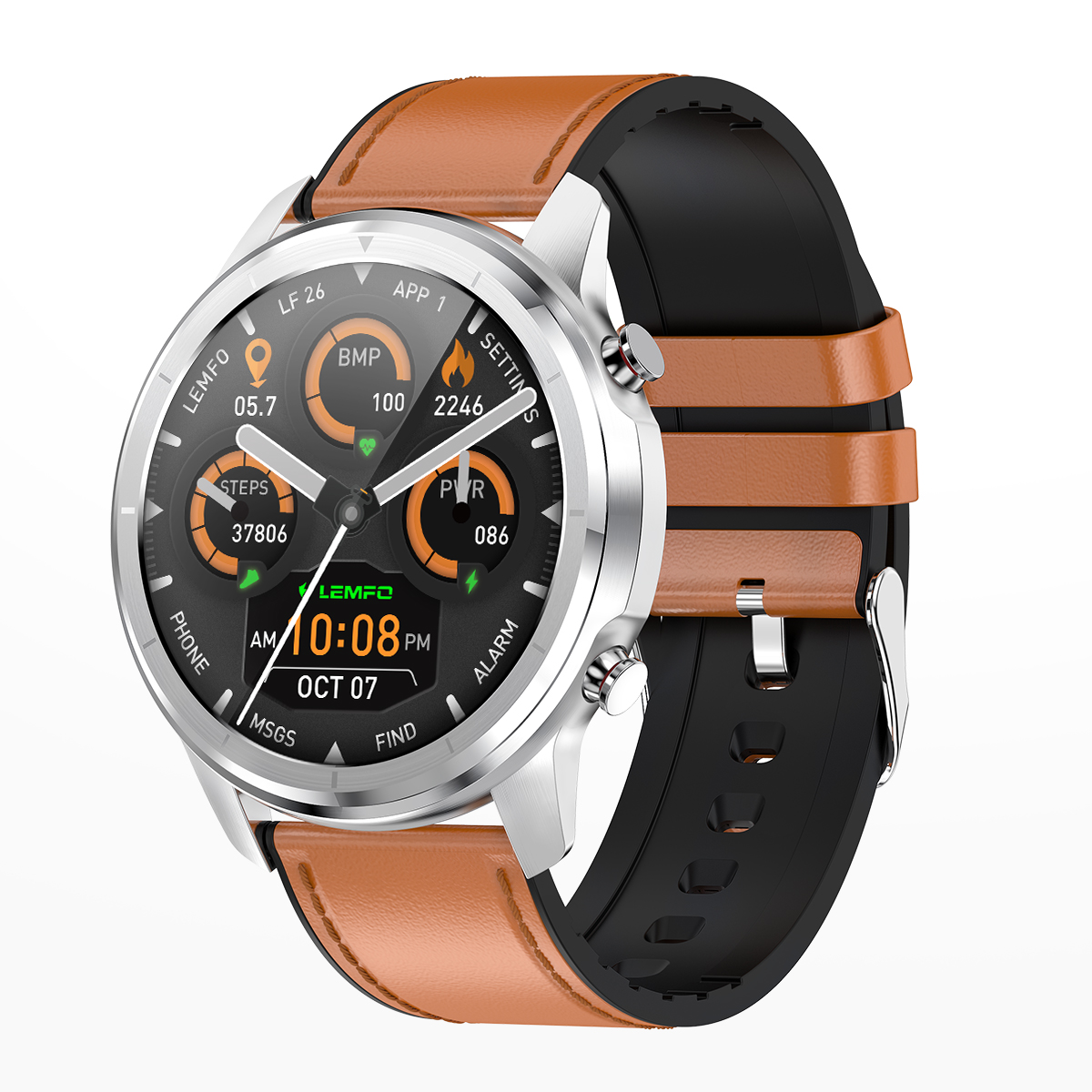 Original LEMFO LF26 Round Dial Smart Bracelet 150mAh IP67 Waterproof Bluetooth 5.0 1.3 inch Full HD IPS Screen Watch Silver_Brown leather strap