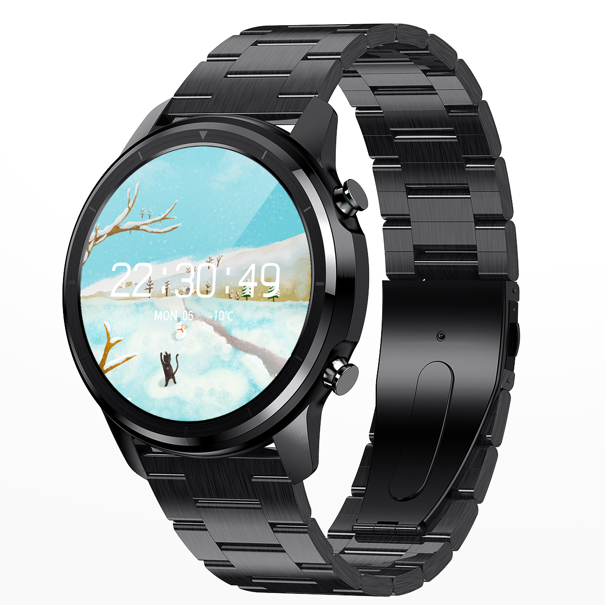 Lemfo LF26 Round Dial Smart Bracelet 150mAh IP67 Waterproof Bluetooth 5.0 1.3 inch Full HD IPS Screen Watch black_Black steel strap