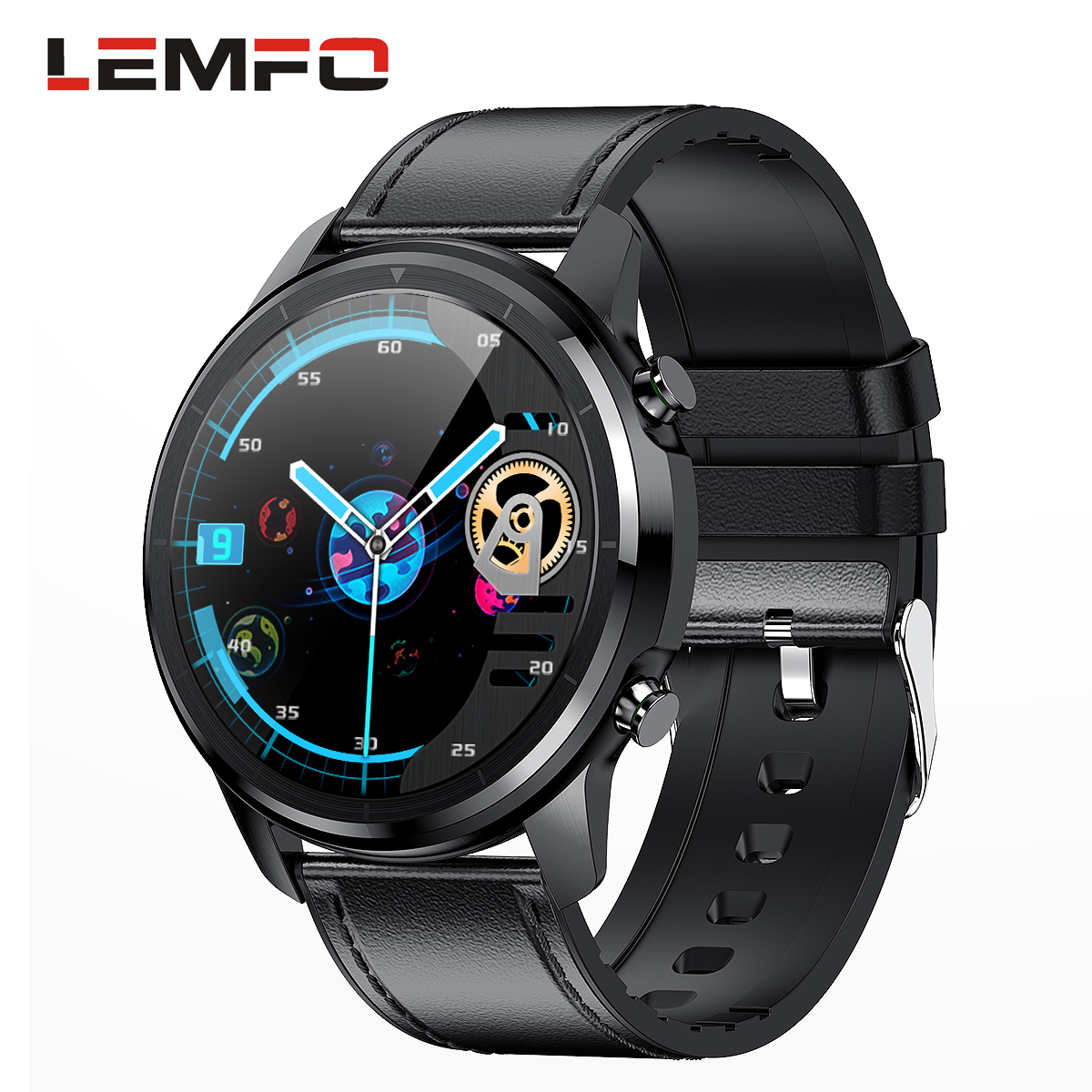Lemfo LF26 Round Dial Smart Bracelet 150mAh IP67 Waterproof Bluetooth 5.0 1.3 inch Full HD IPS Screen Watch black_Black leather strap