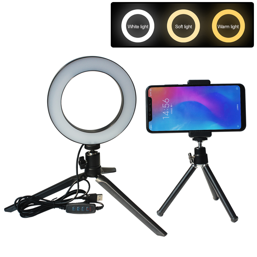 5.5/8/10 inch 10 Modes LED Ring Light with Stand Dimmable Lighting for Makeup Phone Camera