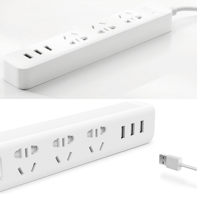 Xiaomi Power Strip - 3 Sockets, 3 USB Ports, Heat Resistant PC-Plastic, 2500W, 1.8 Meter Lead, 250Volt, 10 Amp (White)