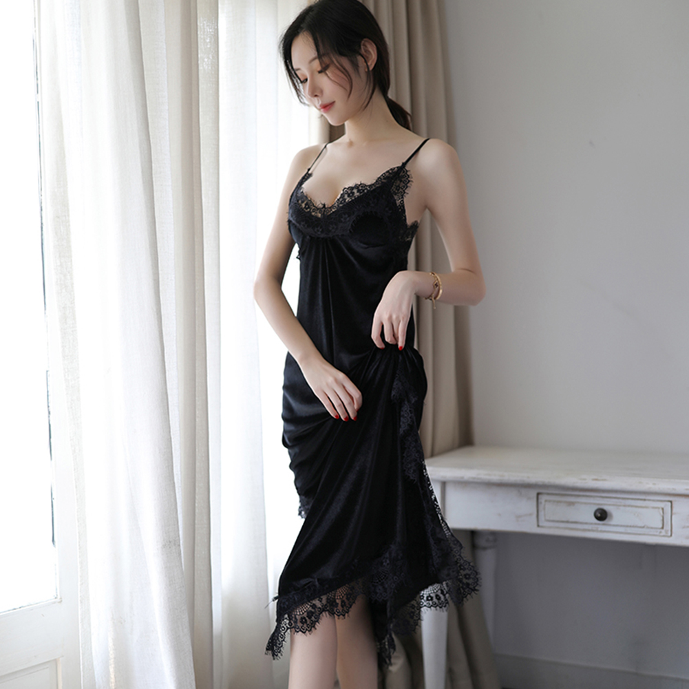 Lady Sexy Underwear Lace Flower Side Split Sling Nightdress + Briefs Temptation Lingerie black_One size
