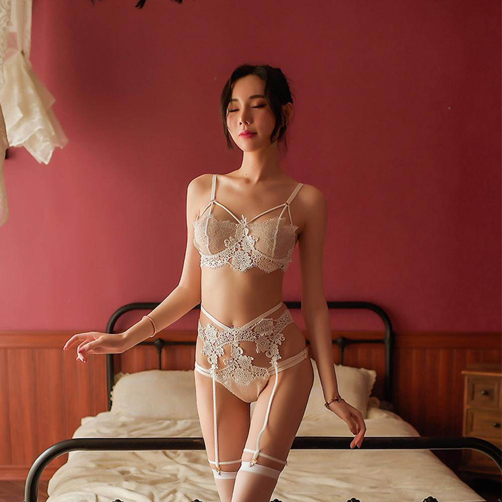 Lady Sexy Lingerie Set Lace Floral Bra + Briefs + Garter Temptation Underwear Panties white_One size