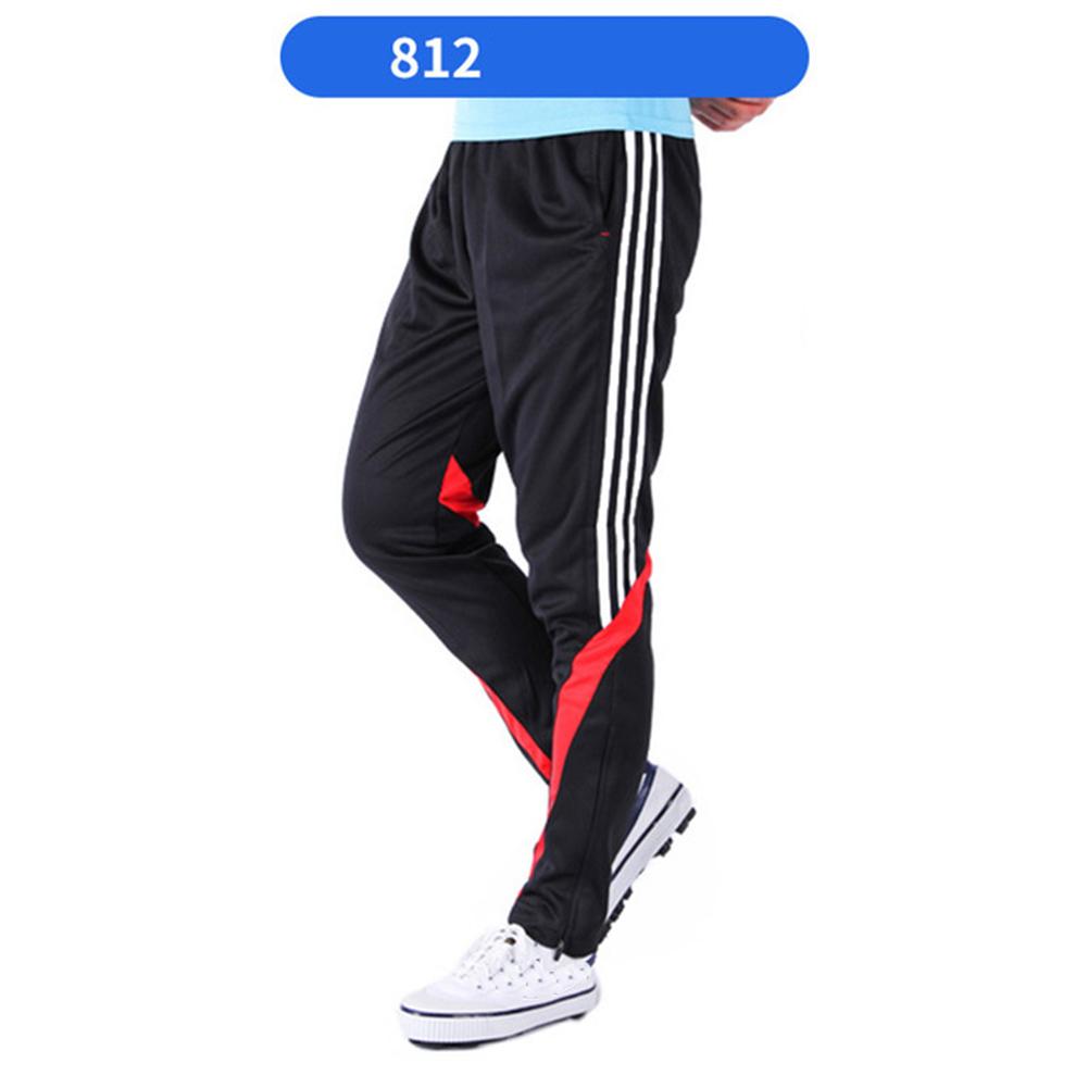 Men Summer Training Pants Breathable Running Football Long Fashion Sports Pants 812-red_XL
