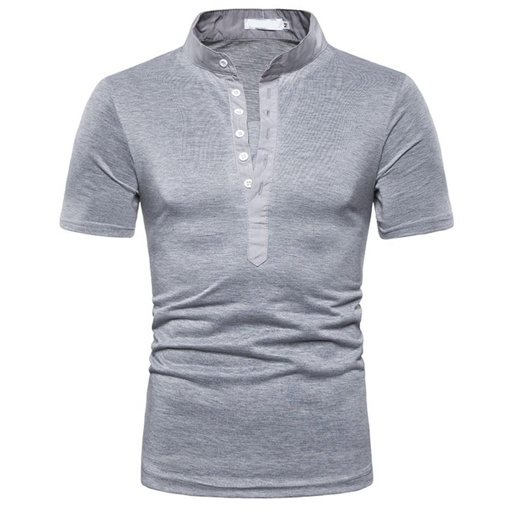 Fashion Men Slim Fit V Neck Short Sleeve Muscle Tee T-shirt  light grey_L