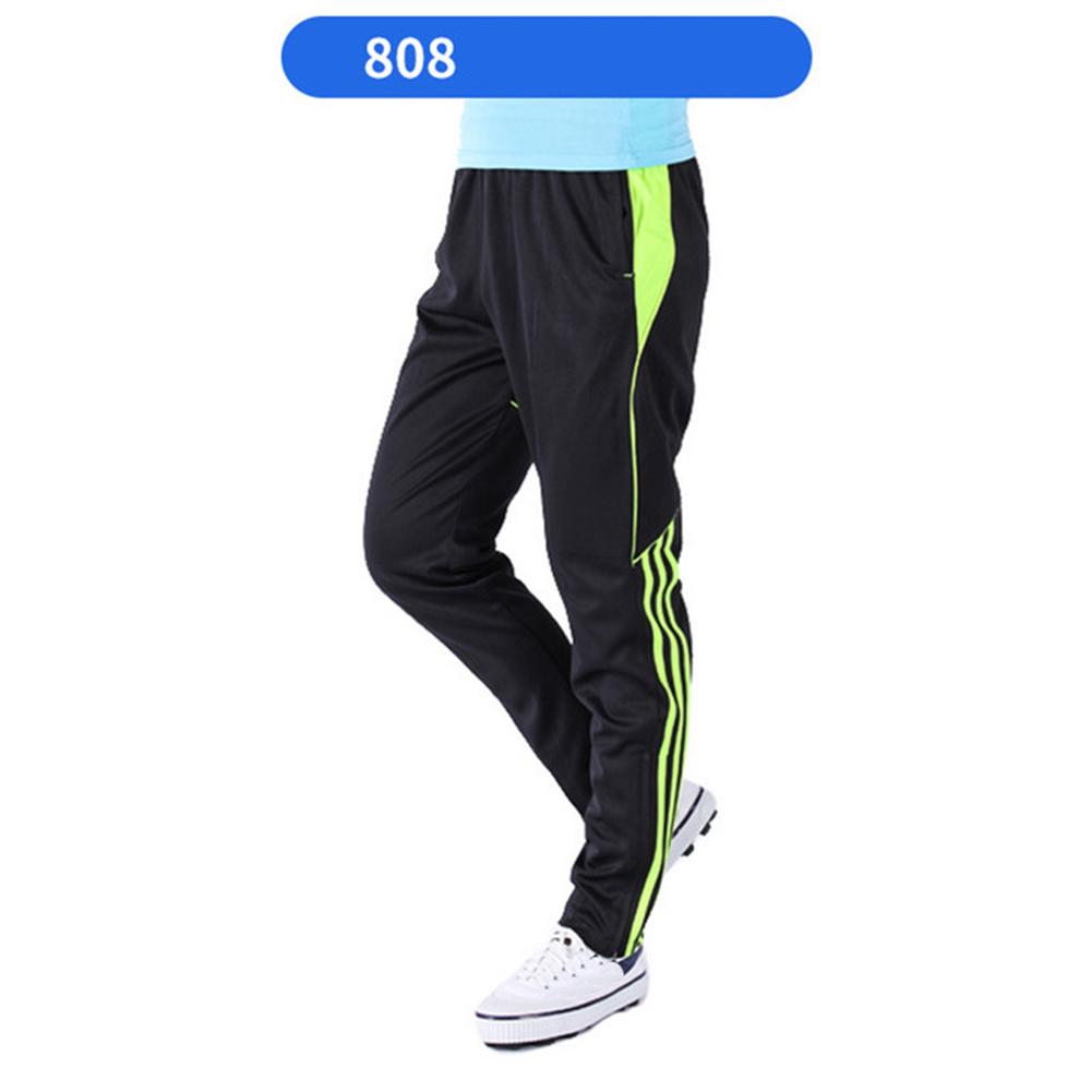 Men Summer Training Pants Breathable Running Football Long Fashion Sports Pants 808-fluorescent green_XXL