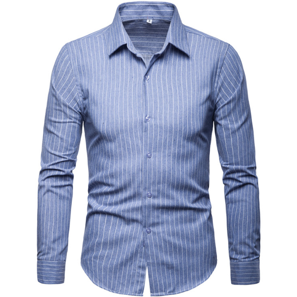 Men Fashion Slim Casual Plaid Long Sleeve Shirt Light blue_2XL