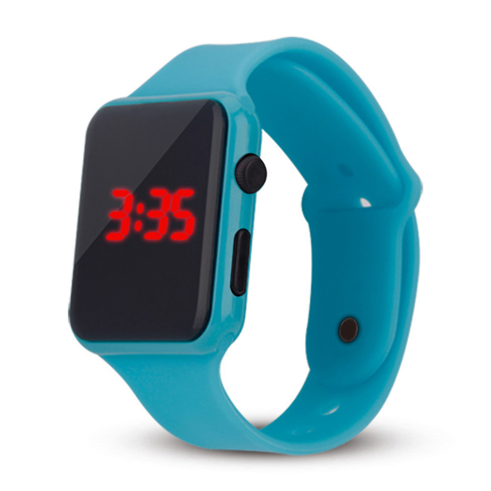 Electric LED Wristwatch Silicone Band Digital Display Watch Gifts for Boys and Girls Light blue