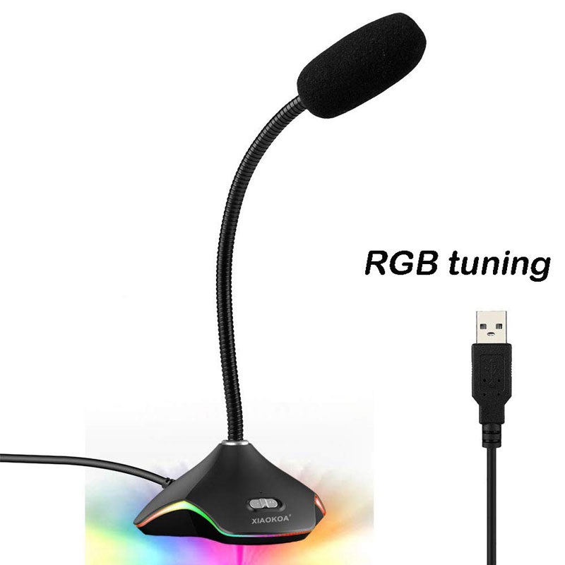 Flexible USB Condenser Microphone For Computer With Led Light RGB Tuning black_USB Symphony Tuning Version (USB Interface)