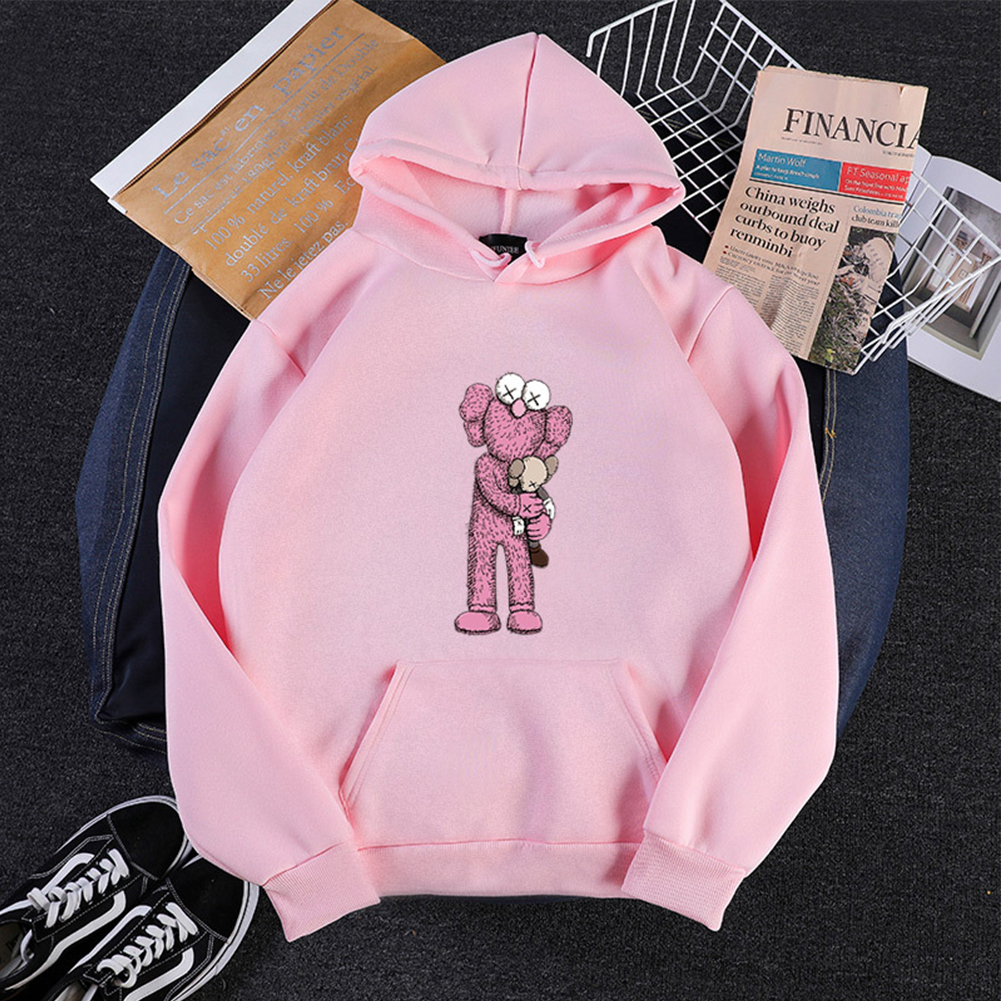 KAWS Men Women Hoodie Sweatshirt Cartoon Holding Doll Thicken Autumn Winter Loose Pullover Pink_XL