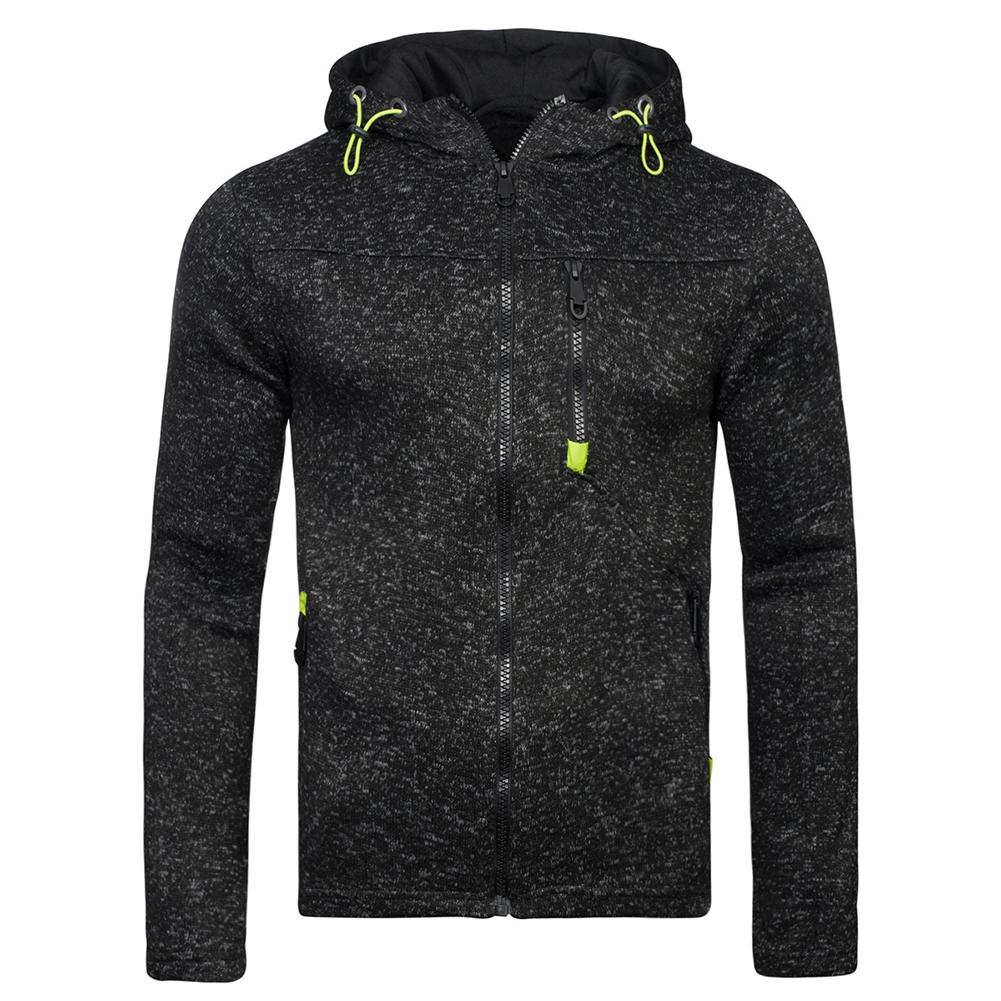 Men Fleece Hooded Tops Zipper Closure Fitness Hoodies Solid Color Sweatshirts Coat black_M