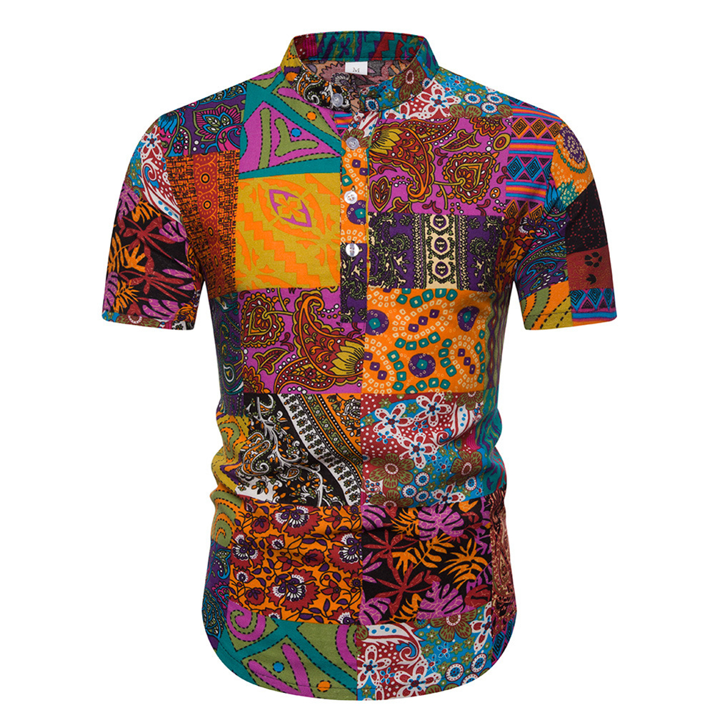 Men Fashion Ethnic Style Stand Collar Pullover Short Sleeve Shirt as shown_L