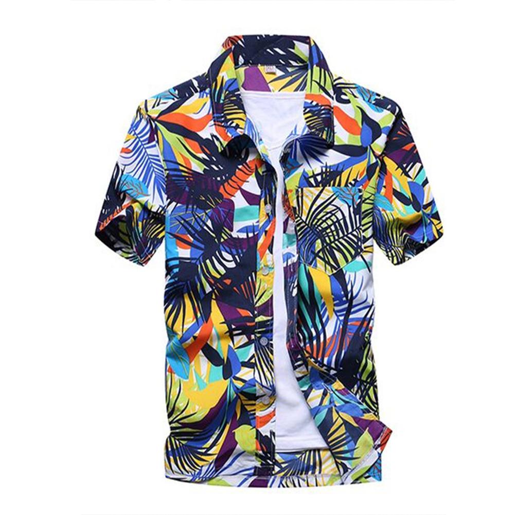 Men Summer Hawaii Quick Dry Printing Short Sleeve Loose Beach Shirt Light green_L
