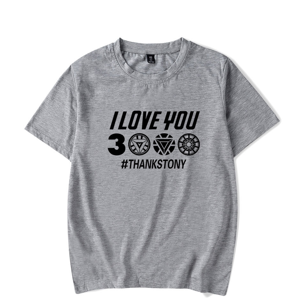Men Women Summer I Love You 3000 Letters Printed Casual Round Collar Fashion T-shirt B gray_L