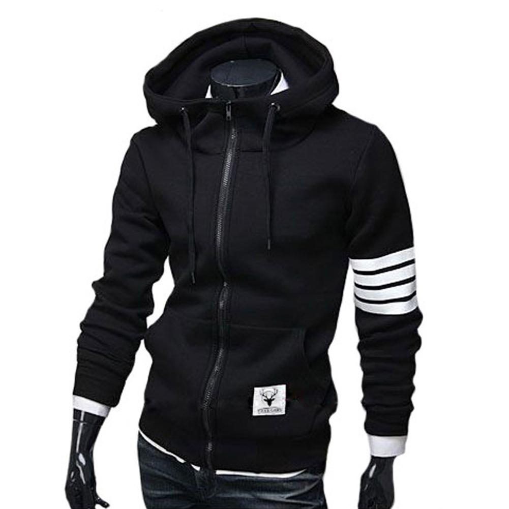 Men Women Fashion Hooded Shirts Stripes Pattern Long Sleeve Slim Coats  black_L