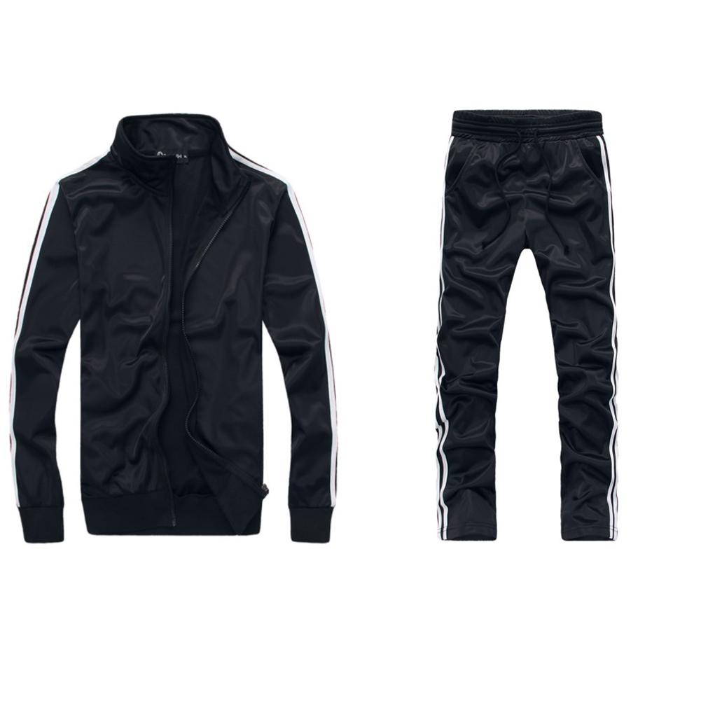 Men Autumn Sports Suit Striped Casual Sweater + Pants Two-piece Suit Outfit black_3XL