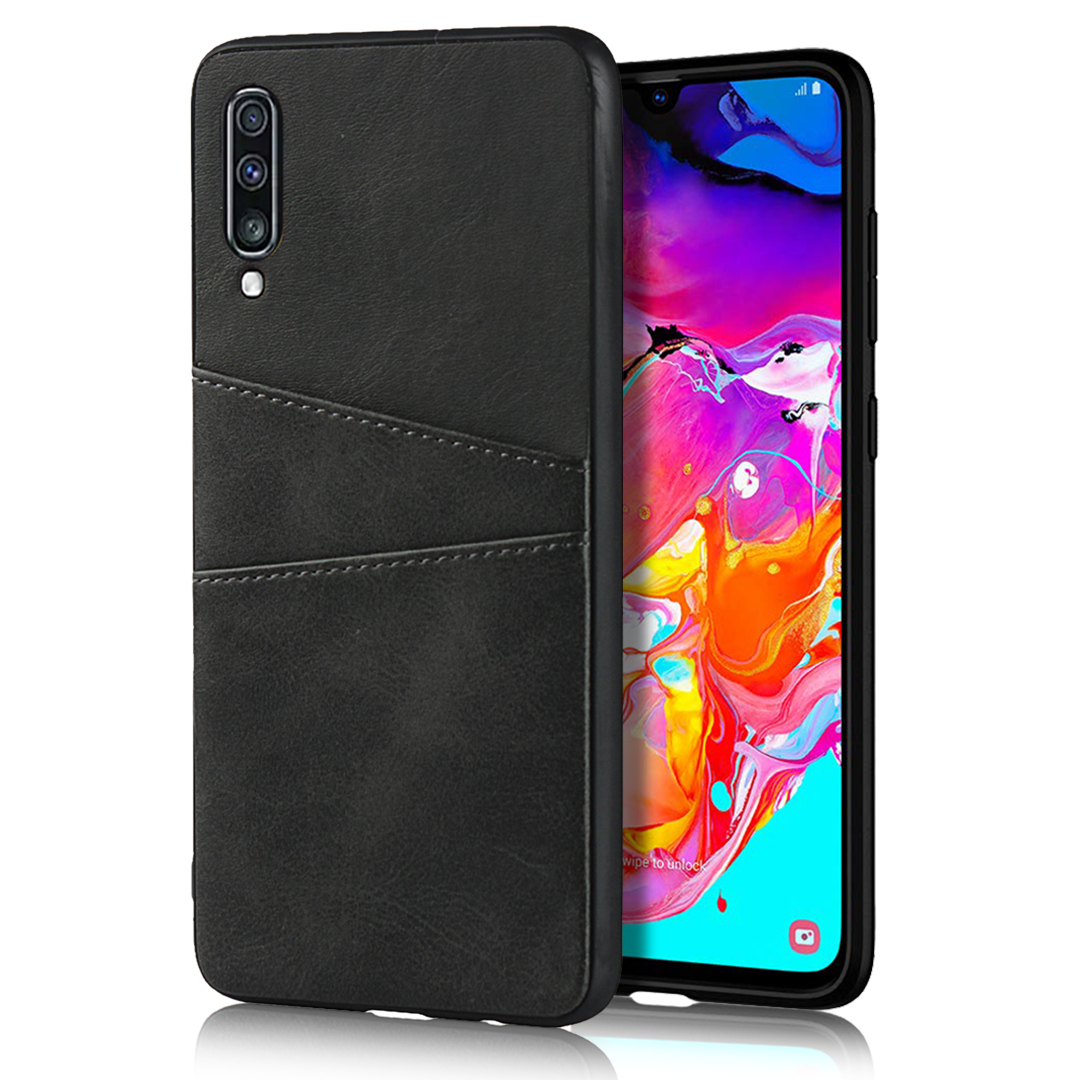 For Samsung A70 Cattlehide Grain PU Protective Case Back Cover with 2 Cards Pockets black