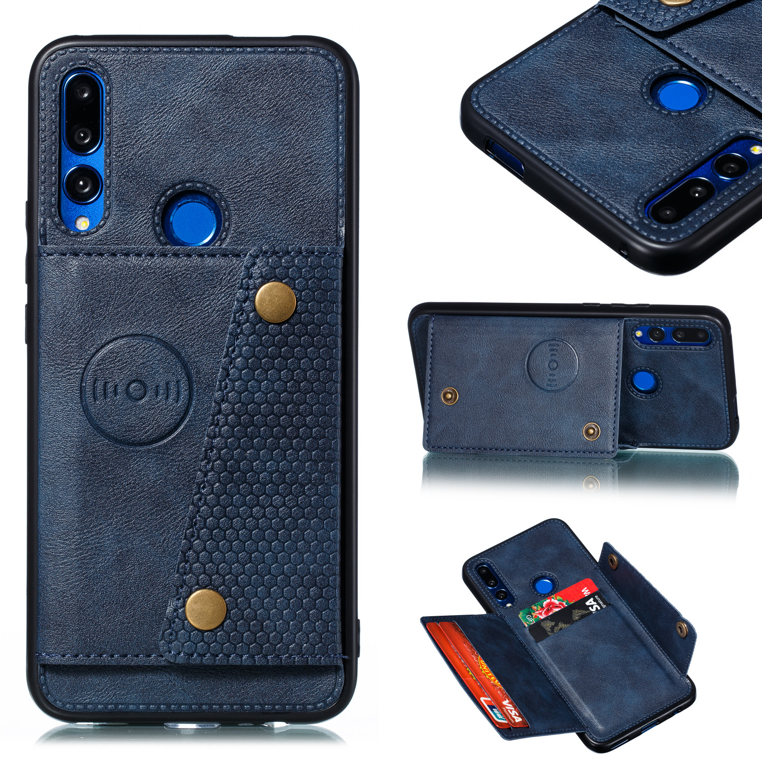 For HUAWEI Y9 prime 2019 PU Leather Shockproof Cell Phone Case Anti-dust Phone Case with Double Buckle Card Slot Pocket  blue