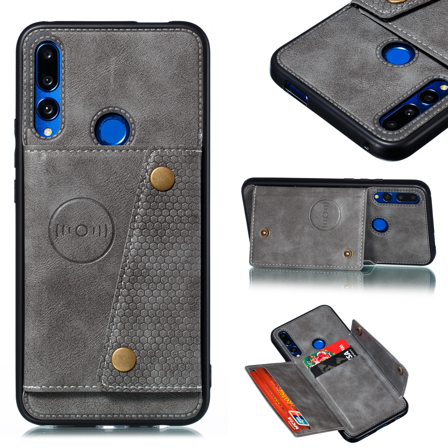 For HUAWEI Y9 prime 2019 PU Leather Shockproof Cell Phone Case Anti-dust Phone Case with Double Buckle Card Slot Pocket  gray