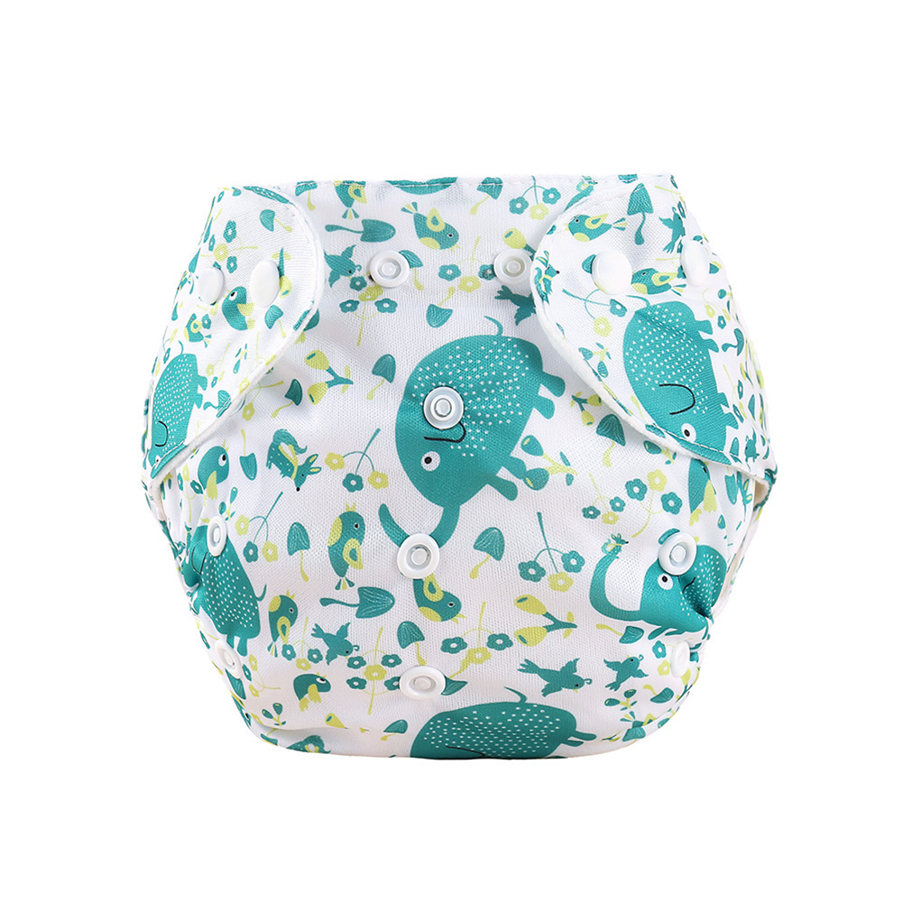 Knitted Fabric Baby Waterproof Diaper Barrier Baby Diapers  Pants Green elephant_0-18 months