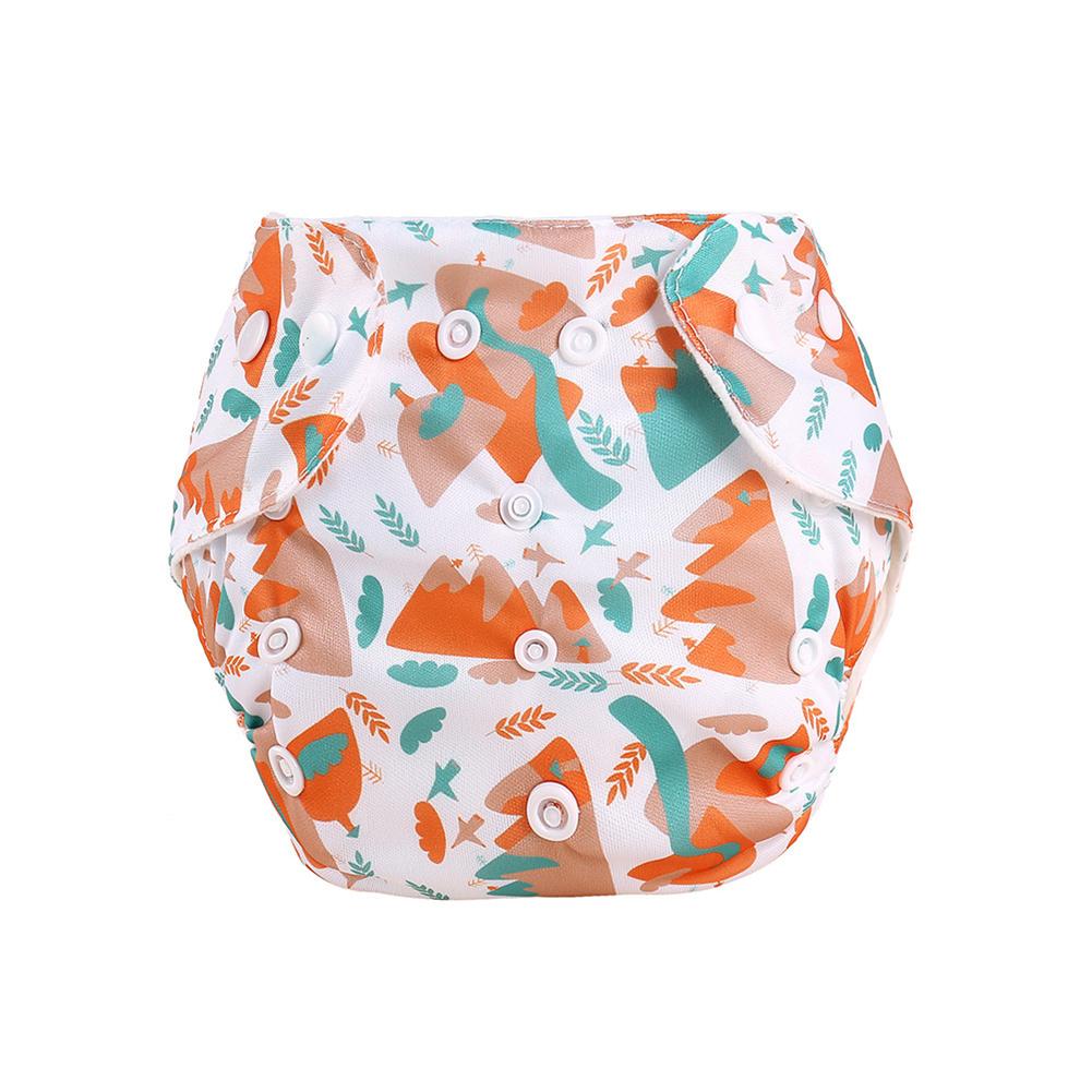 Knitted Fabric Baby Waterproof Diaper Barrier Baby Diapers  Pants Orange hillside_0-18 months