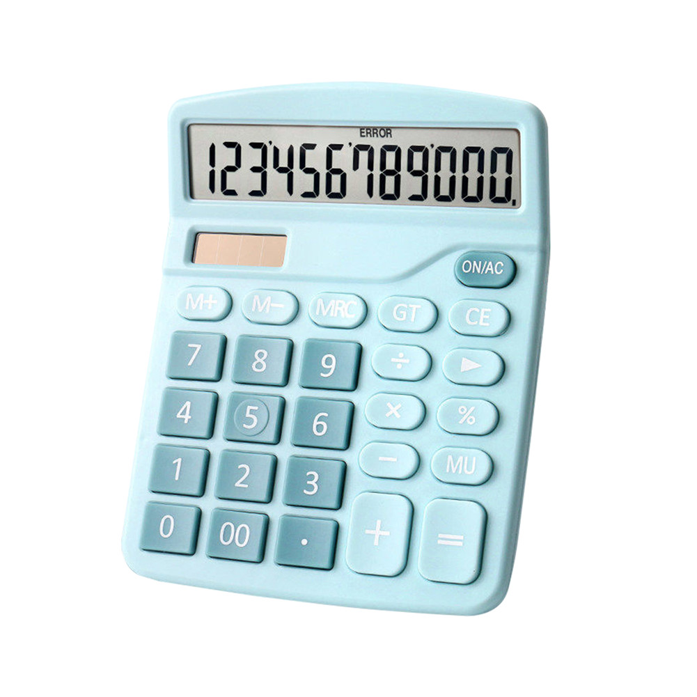 Color Calculator 12-digit Display Office Student Battery Solar Dual Power Lcd Display Basic Calculator blue