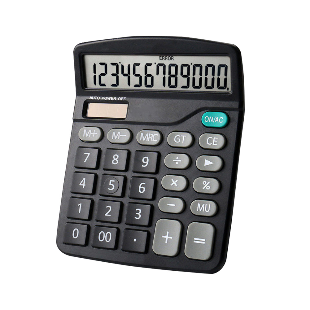 Color Calculator 12-digit Display Office Student Battery Solar Dual Power Lcd Display Basic Calculator black