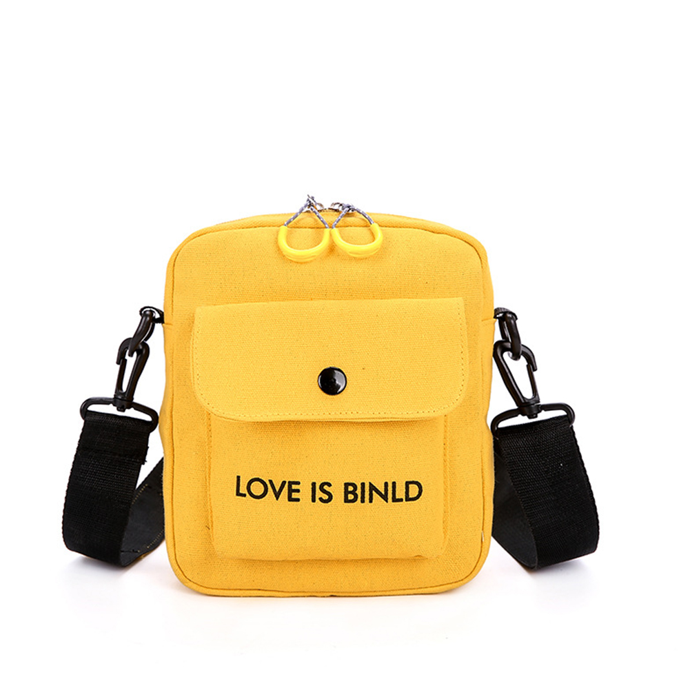 Women All Match Single Shoulder Casual Letter Printing Rivet Canvas Satchel with Earphone Holes yellow