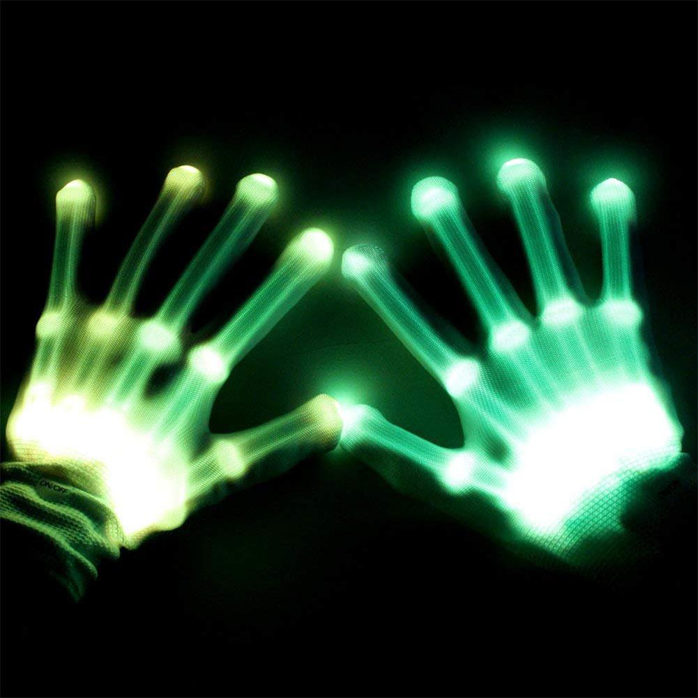 LED Color Changing Flashing Skeleton Gloves Novelty Halloween Costume Party Concert Prop Green light