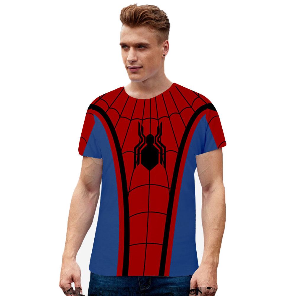 Men Women Summer Cool Marvel Movies Spiderman 3D Printing Berathable Short Sleeve T-shirt  B_XL