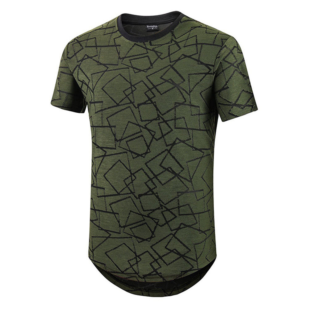 Male Short Sleeves and Round Neck Top Floral Printed Pullover Casual Slim T-shirt  green_L