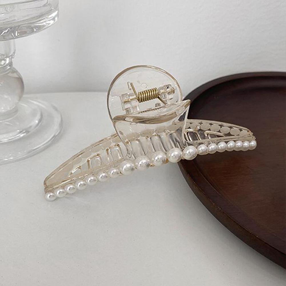 Hair Clip Pearl Plate Hair Side Clip Hairpin Grasping Clip Hair Ornaments 2#Large (19 pearls)