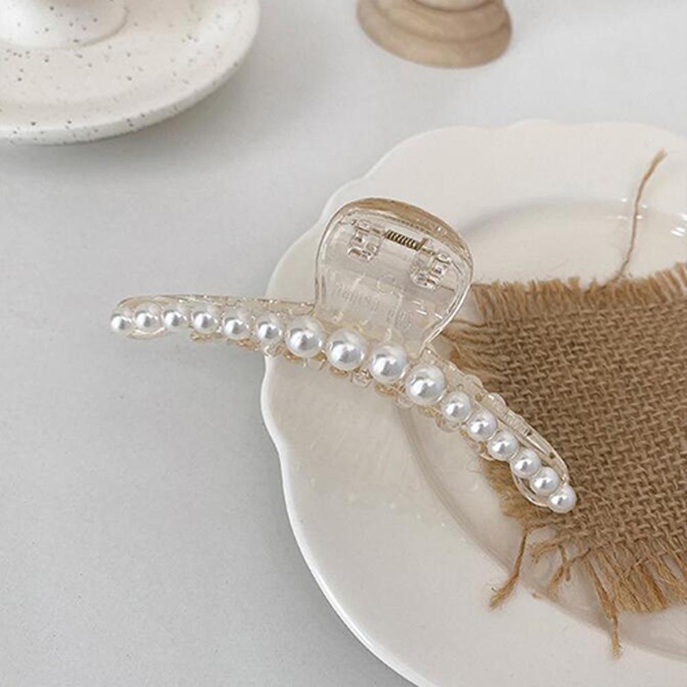 Hair Clip Pearl Plate Hair Side Clip Hairpin Grasping Clip Hair Ornaments 1#Small (16 pearls)