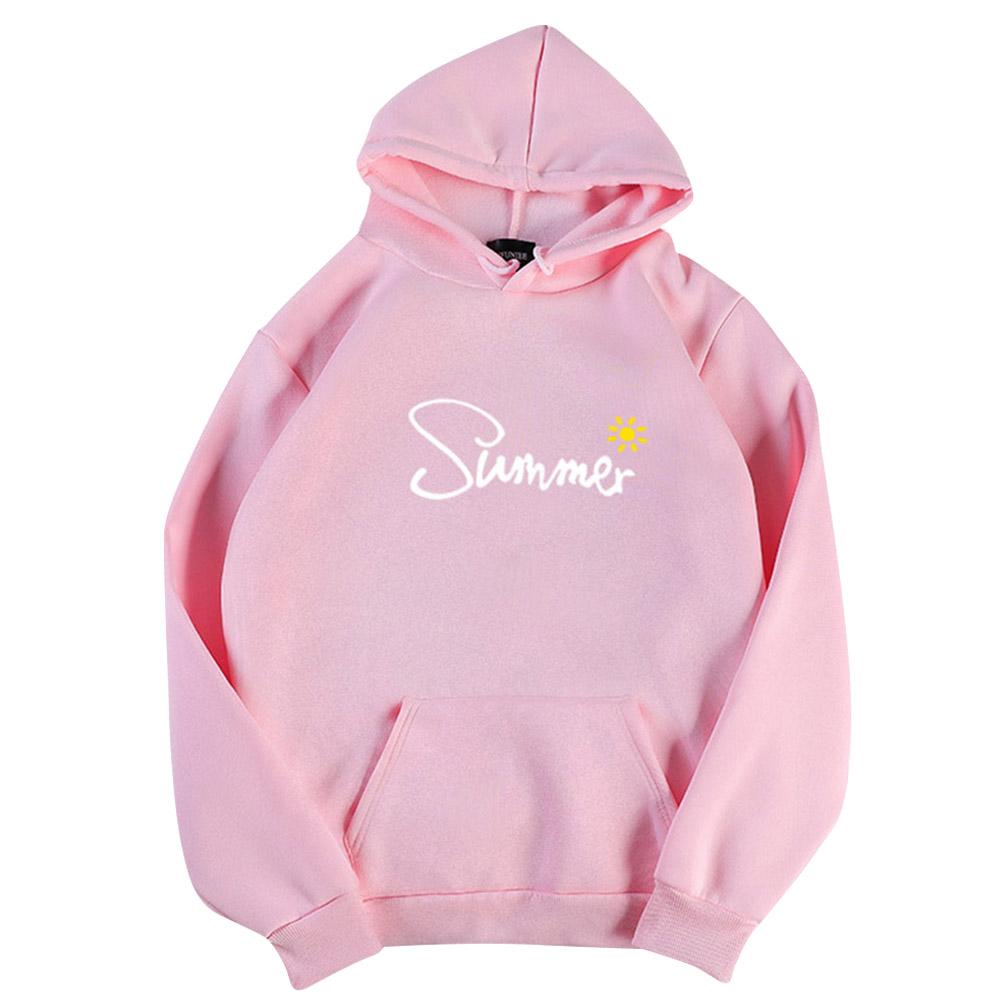 Men Women Hoodie Sweatshirt Thicken Velvet Summer Sun Autumn Winter Loose Pullover Tops Pink_L