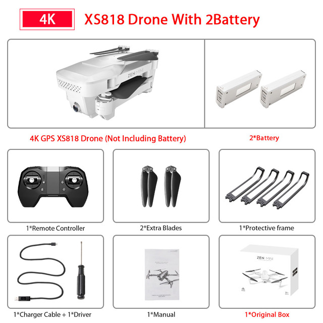 XS818 Drone FPV HD 4K GPS Quadrocopter With WIFI Camera Dron Foldable Drone Selfie RC Quadcopter Drones Helicopter Toy 2 battery