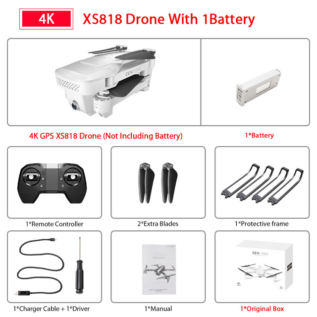 XS818 Drone FPV HD 4K GPS Quadrocopter With WIFI Camera Dron Foldable Drone Selfie RC Quadcopter Drones Helicopter Toy 1 battery