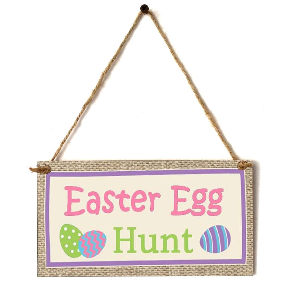 Wooden Easter Chick Rabbit Pattern Rectangle Plaque for Door Hanging Decoration Craft JM01151
