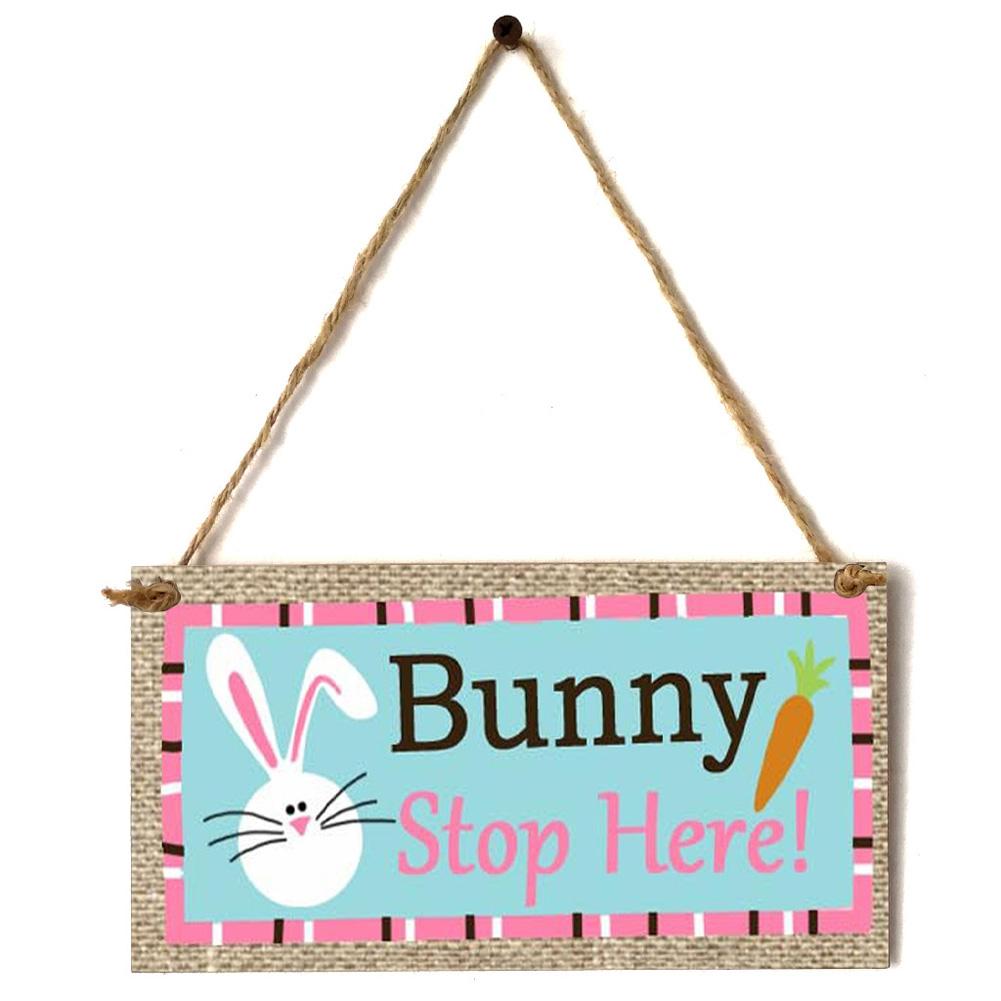 Wooden Easter Chick Rabbit Pattern Rectangle Plaque for Door Hanging Decoration Craft JM01150